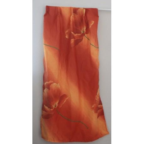 Goedkope gordijnstof oranje/rood met bloem