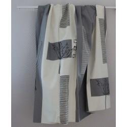 Gordijnstof 1017 grijs met wit